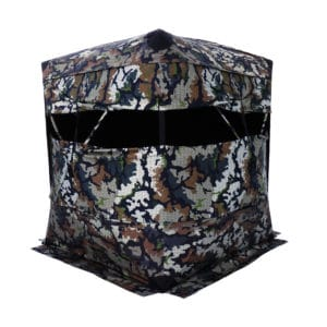 Xenek Ascent ground blind in DSX Camo panoramic 4 way stretch front window